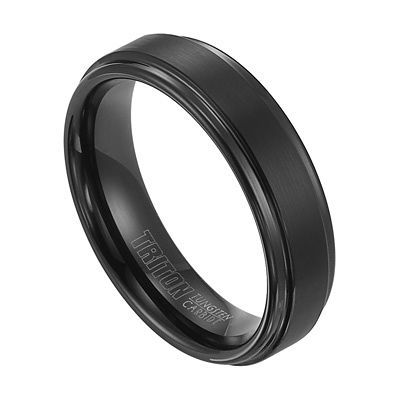 Triton Men's 6.0mm Comfort Fit Double Groove Black Tungsten Wedding Band