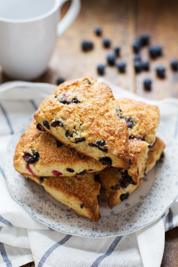 Bakery Style Blueberry Scones with that crunchy sugar on the outside! | pinchofyum.com