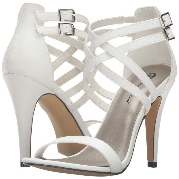 Michael Antonio Rixy (White) High Heels ($28) ❤ liked on Polyvore featuring shoes, white, ankle strap stilettos, high heel shoes, strappy high heel shoes, white shoes and michael antonio shoes