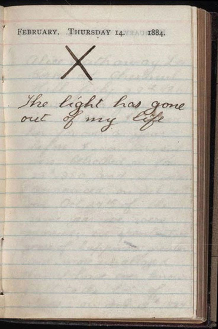 Theodore Roosevelt's diary the day his wife and mother died, 1884.  On February 14, 1884, Theodore Roosevelt received a terrible news, his wife and mother died within hours of one another in the Roosevelt house in New York City. His mother, age 50, succumbed to typhus, and his wife Alice died at the age of 22 giving birth to her namesake. The following diary entries lovingly describe his courtship, wedding, happiness in marriage, and his grief over the death of his wife Alice. ...