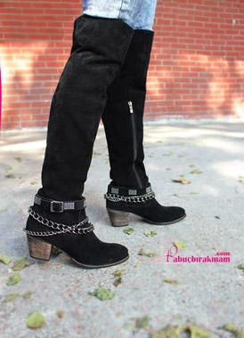 Western Siyah Süet Çizme