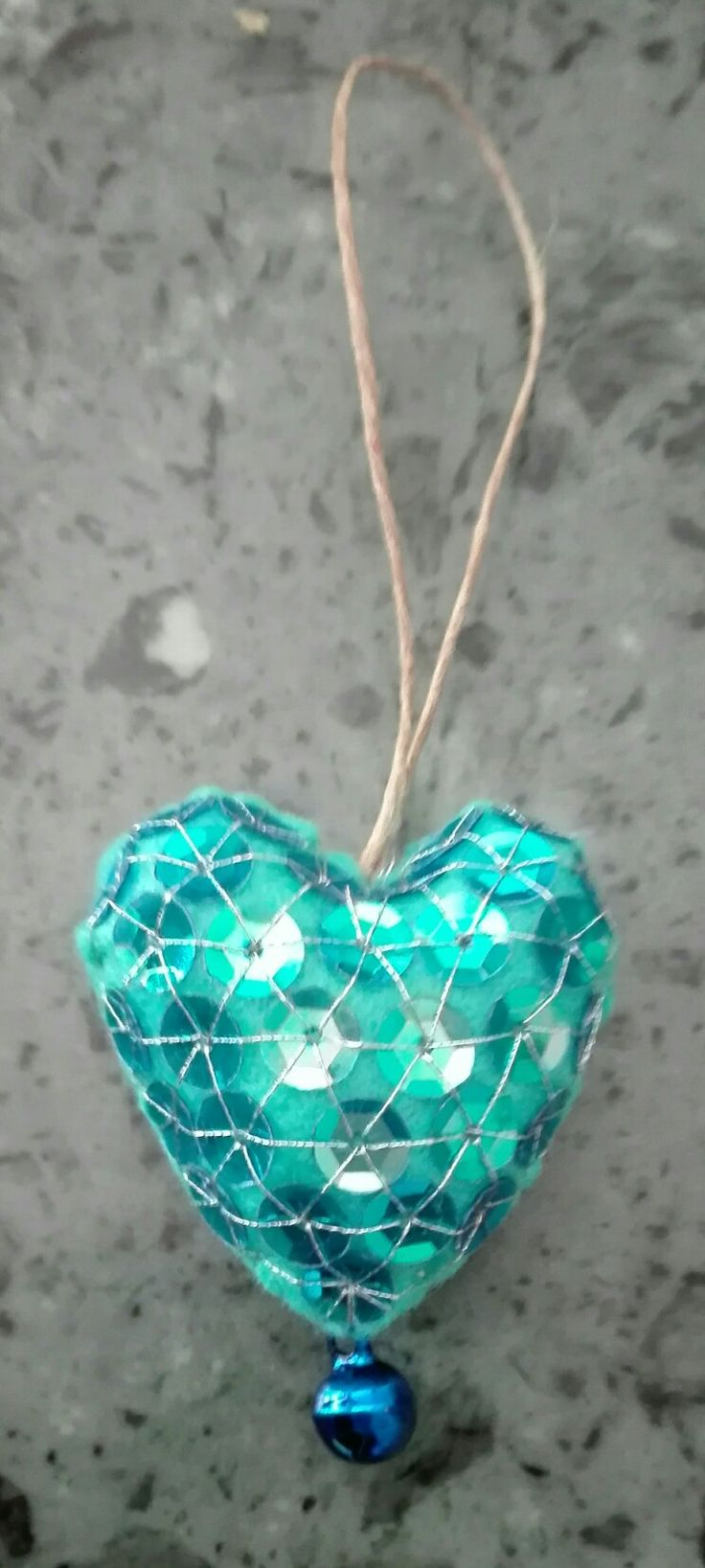 heart for pinella - 27 febrary 2017 - handmade by mariarosa - blue felt, bell and 63 paillettes.
