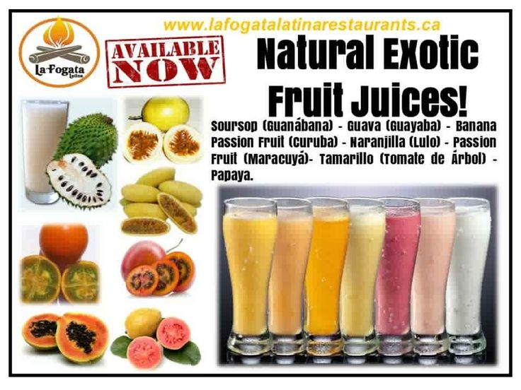 NATURAL EXOTIC JUICES • Soursop (Guanábana) • Guava (Guayaba) • Banana Passion Fruit (Curuba) • Naranjilla (Lulo) • Passion Fruit (Maracuyá) • Tamarillo (Tomate de Árbol) • Papaya. La Fogata Latina - Authentic Gluten-Free Latin American Food in Downtown Victoria - 749 View Street. MON - THURS Noon - 7 PM • FRI Noon - Midnight • SAT 2PM - 3AM • 250-381-2233 SEE: https://theceliacscene.com/places/victoria/featured-restaurant/la-fogata-latina-2/