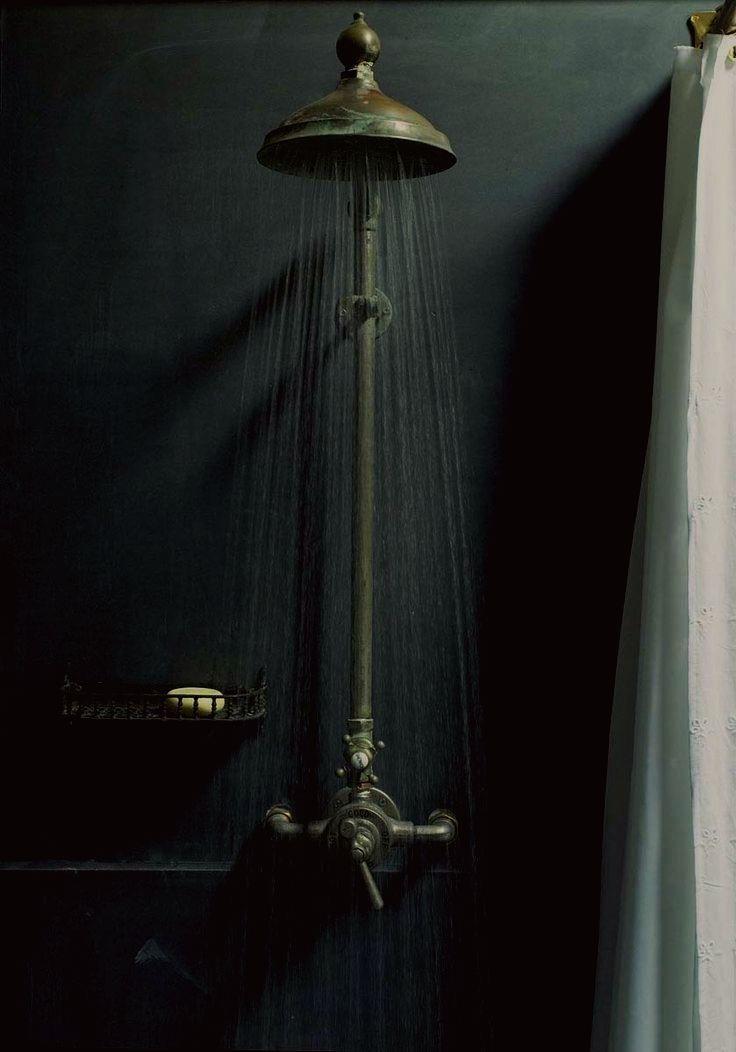 Dark Interior Shower- it seems to make more sense than white, more relaxing
