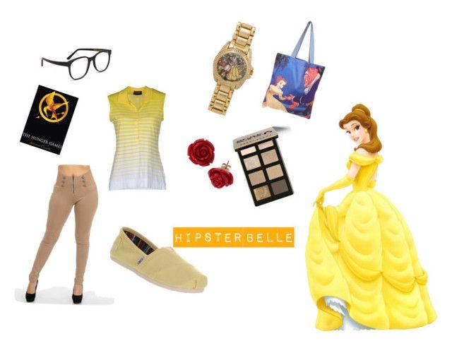 """""""Hipster Belle"""" by evy-emanuel ❤ liked on Polyvore featuring Disney, John Smedley, TOMS, Larke, Bobbi Brown Cosmetics, Hipster, disney, belle and Disneyprincess"""