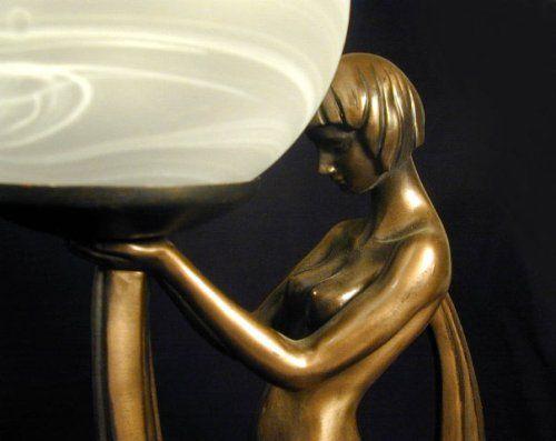 アールデコ調テーブルランプ付き 女神 彫像 ブロンズ風彫刻 - セレクトショップ 未来研究所 Gadgets Shop Online