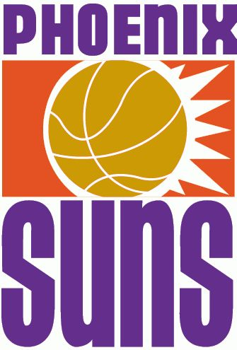 Phoenix Suns Primary Logo (1969) - Basketball with sun burst in orange box in middle of Phoenix Sun in purple