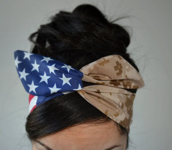 Marine Desert digital Camo Patriotic Dolly bow, Woodland American Flag head band, hair bow
