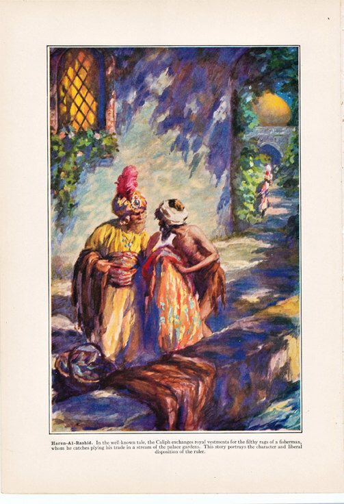 Vintage print of Harun-Al-Rashid, Caliph, fisherman, pretty 1930's World Book encyclopedia illustration