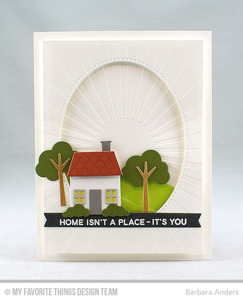 Handmade card from Barbara Anders featuring No Place Like Home stamp set and Home Sweet Home Die-namics #mftstamps