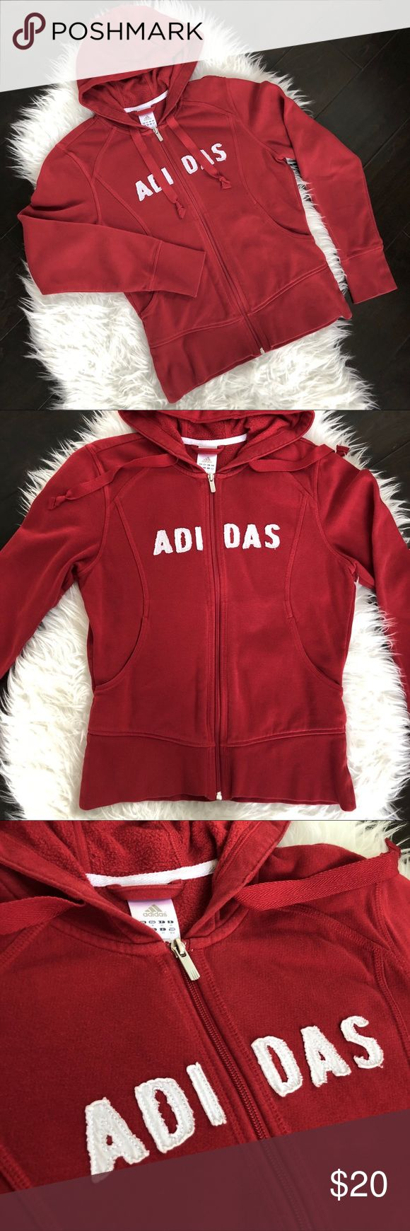 Adidas Zip-Up Hoodie, Red Adidas, Zip-Up Hoodie in Red.  Color is close to a true red with some fading from normal washing & wearing.  Good used condition.  Cotton/Polyester/Spandex. Machine wash. adidas Tops Sweatshirts & Hoodies