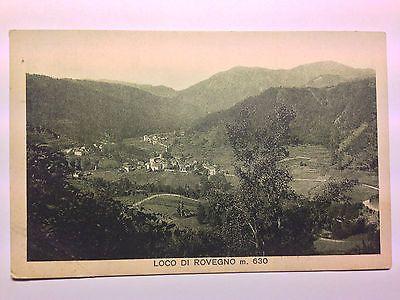 Panorama di Loco di Rovegno (Genova) - 1930 c/a - sfondo verde