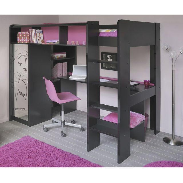 LADOLLY Lit mezzanine 90 x 200 cm, bureau + étagères + armoire, bois, noir et rose prix promo Mistergooddeal 415.00 € TTC au lieu de 819 €