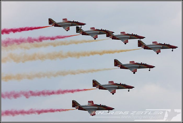 Spanish Air Force display team Patrulla Aguila in their CASA C-101 Aviojet trainers.