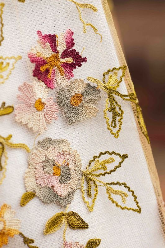 Plays With Needles: A Tamboured Garden. A beautiful piece of Point de Beauvais (Tambour Embroidery)