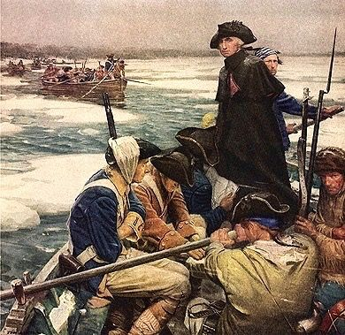 After the defeat at Long Island, George Washington led the American army in retreat across New Jersey. Chasing behind him was the significantly larger, better trained, and better equipped British | Washington crossing the Delaware the night of December 25-26, 1776 during the American Revolutionary War.