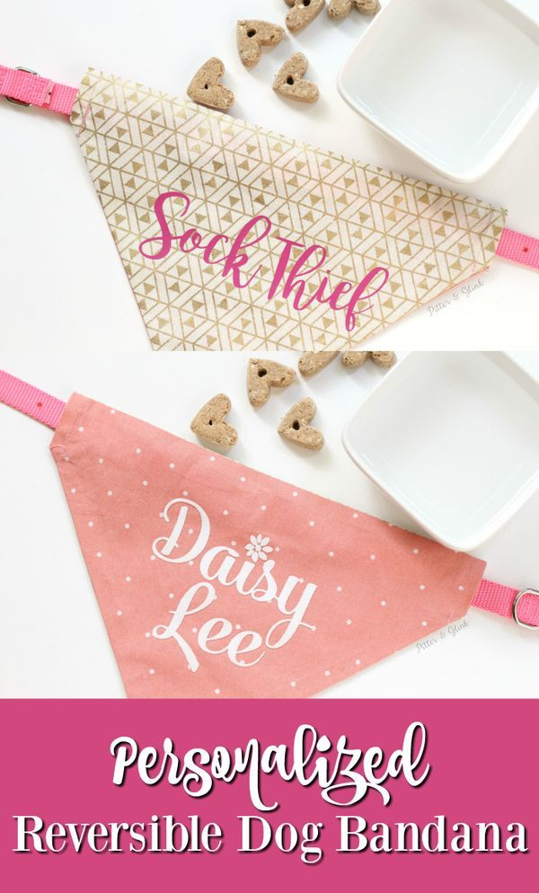 How to Make a Personalized, Reversible Dog Bandana | An easy-to-sew DIY project for your pet. Use your Silhouette and HTV for personalization. |sponsored| pitterandglink.com