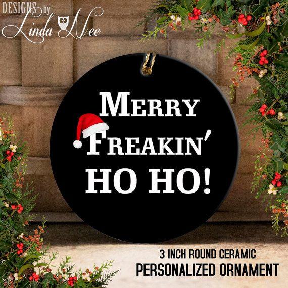 Funny Christmas Ornament, Christmas Tree Ceramic Ornament, Merry Christmas Ornament, Santa Christmas Ornament, Funny Christmas Ornament OCH6