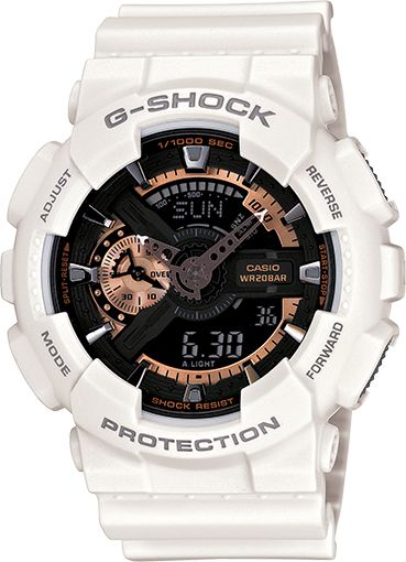 GA110RG-7A White G-Shock Watch with Rose Gold Accents