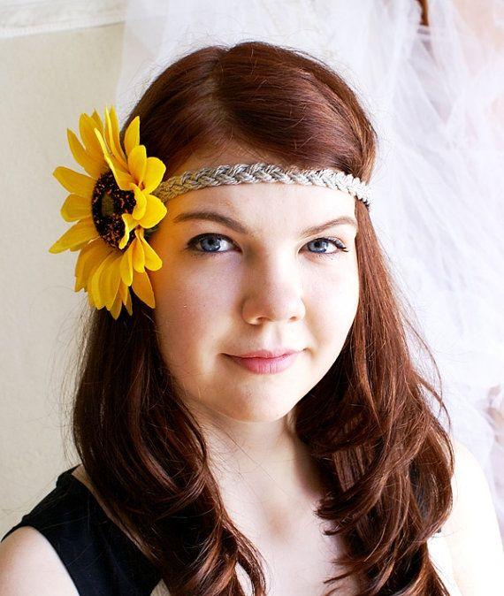 Floral Boho Headband Yellow Accessory Sunflower by DreamBlossoms