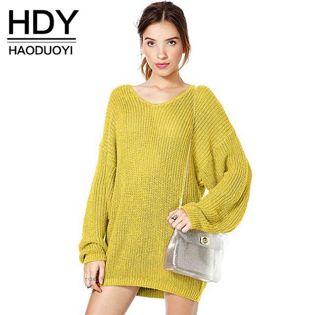 HDY Haoduoyi Мода Трикотажные Топы Женщины С Длинным Рукавом Свободной Женщины Пуловер Топы Краткий Стиль О-Образным Вырезом Solid Повседневная Свитер