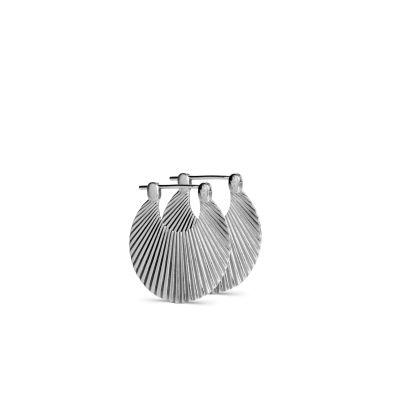 Lille Shell ørering i mat, sterling sølv - Sterling Sølv - Øreringe
