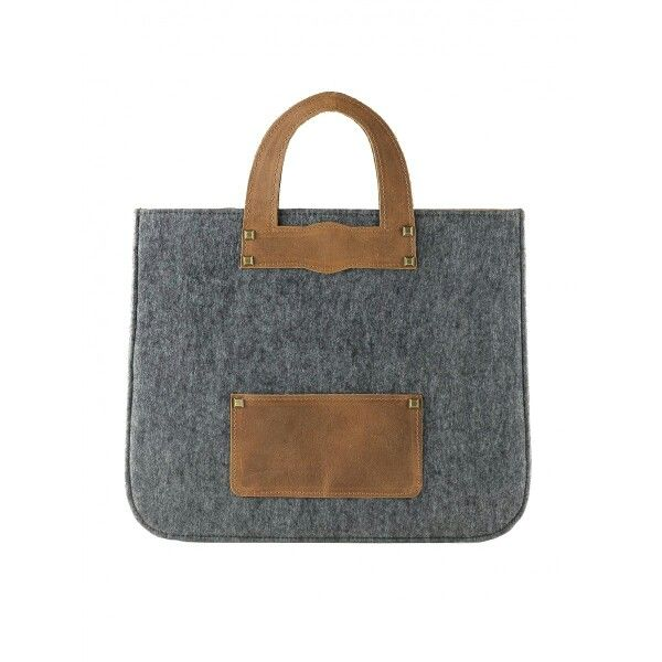 Handcrafted business tote bag, wool felted and natural leather. www.contessina.gr, www.wecreateharmony.com