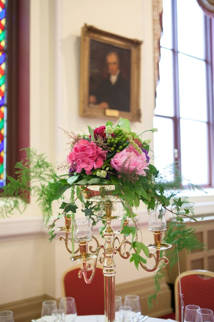 Tall flower arrangement in Corrigan Hall at Royal College of Physicians Dublin