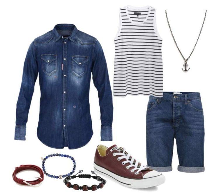 Combo com camisa jeans, regata listrada, bermuda jeans, calçado vinho e acessórios.