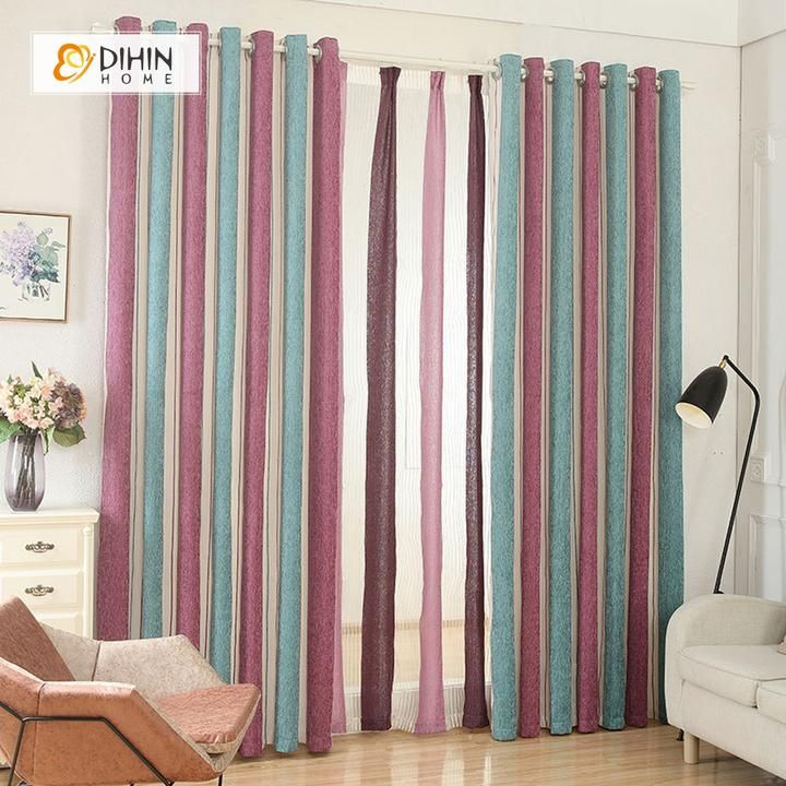 Dihin Home Beige Red Cyan Curtain Blackout Grommet Window Curtain For Living Room 52x63 Inch 1 Panel Curtains Living Room Curtains Window Curtains #red #and #grey #curtains #for #living #room