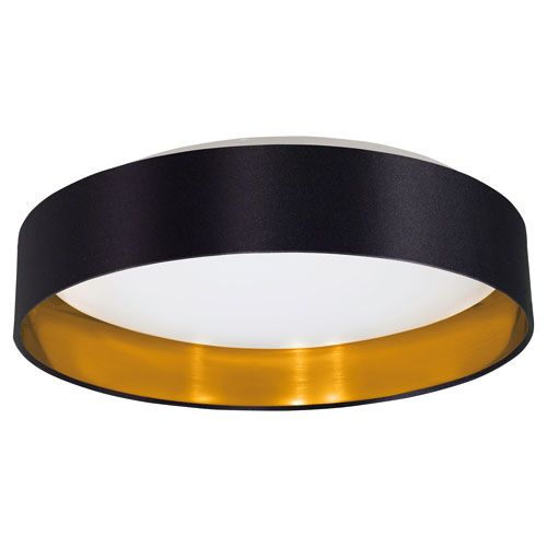 Maserlo LED Black And Gold One Light Flushmount Eglo Flush Mount Flush & Semi Flush Lighti