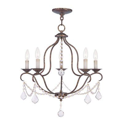 Livex Lighting 6435 Chesterfield 5 Light Chandelier With Clear Crystals