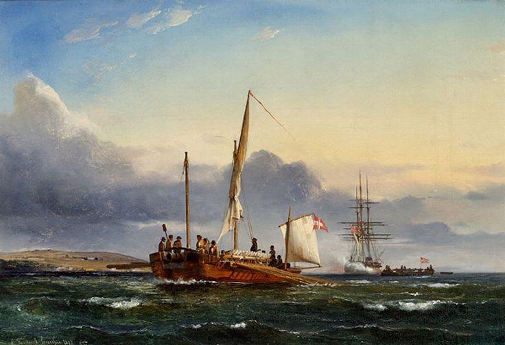 """C.F. Sørensen: """"Scene fra Treårskrigen med kanonbåde i Als Sund"""", 1849."""