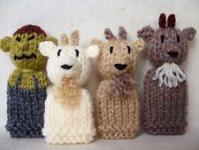 The Three Billy Goats Gruff (and Troll) - 4 Hand Knitted Finger Puppets - NEW