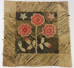 Wool and Cotton Floral Hooked Rug, America, century, 38 x 38 in.