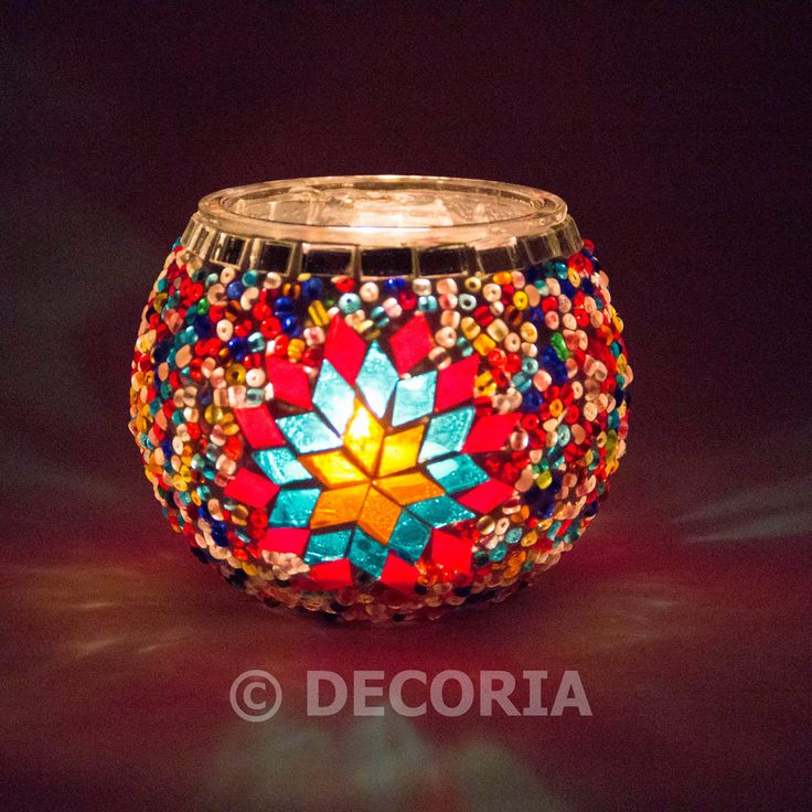Candle Holder - Red & Multi Colour - DECORIA HOME & GIFT