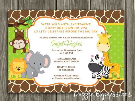 Printable Jungle Baby Shower Invitation | FREE thank you card included | Safari | Neutral Theme | Baby Boy | Giraffe Print | Monkey | Zebra | Elephant | Party Package Decorations Available | www.dazzleexpressions.com