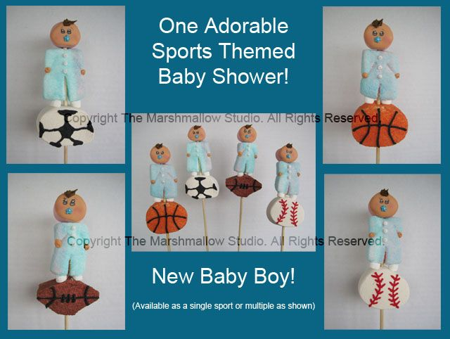 Sports Theme Baby Shower Favors #babyshower #sports #marshmallows #pops  #favors