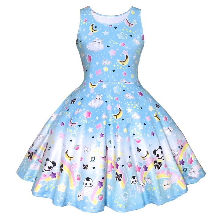Ljusblå klänning med pandor & regnbågar