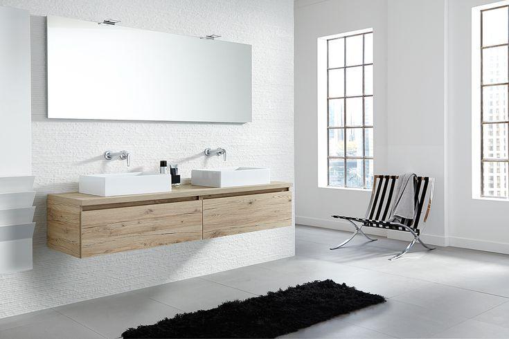 Greeploos badkamermeubel van hout met opzet wastafel exclusive xl van primabad - Badkamer muur tegels porcelanosa ...