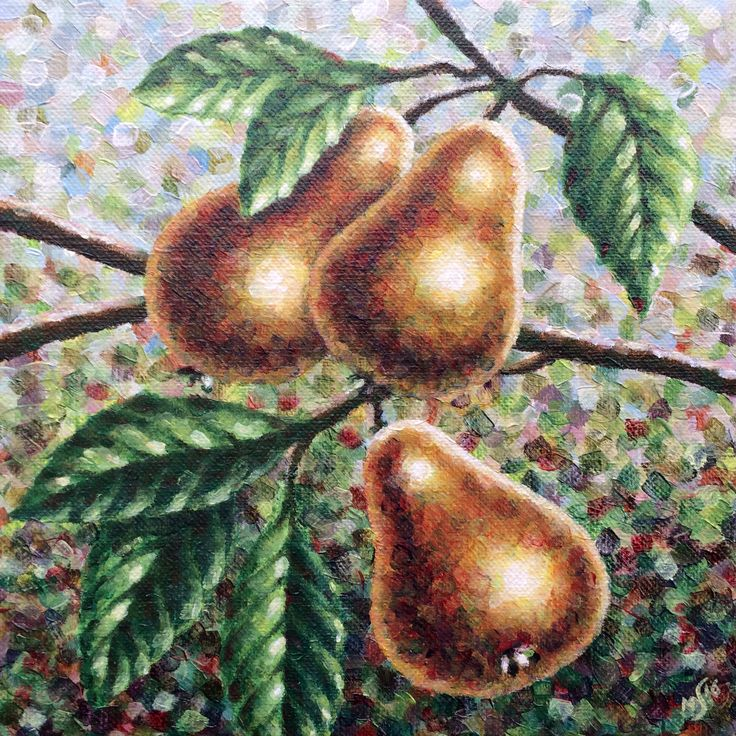 Part 2 (Pears) of diptych 'Apples & Pears', 2x20x20cm, alkyd oil on canvas - www.straverf.nl