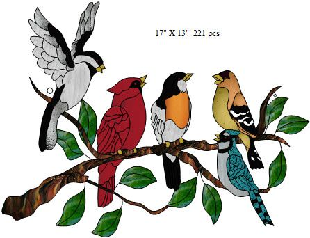 "free+stained+glass+patterns+for+kids | Song Birds Lightcatcher"" 17"" X 13""tall 221 pcs"