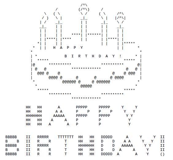One Line Ascii Art Music : Happy birthday ascii text art
