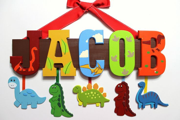 Dinosaur Name Sign (5 Letters) - Custom Hand Painted Wall Letters for Nursery, Child's Bedroom. $74.00, via Etsy.