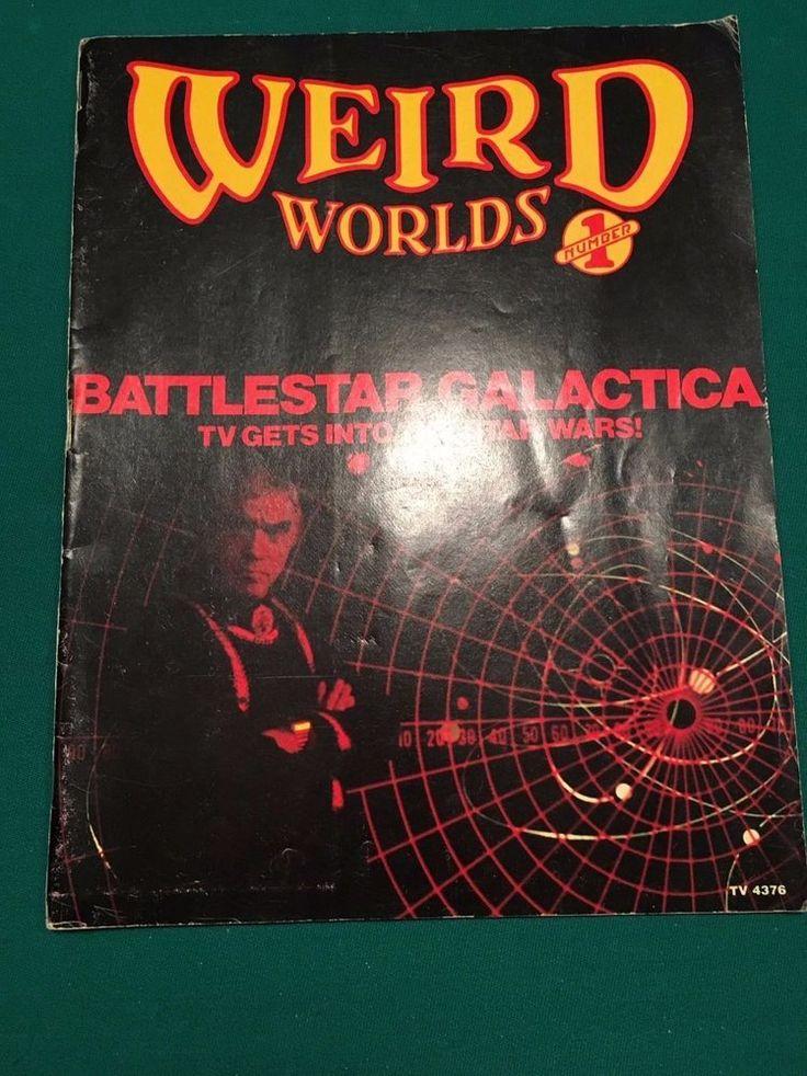 Vintage 1978 Weird World's #1 Battlestar Galactica Star Wars Ray Bradbury Poster