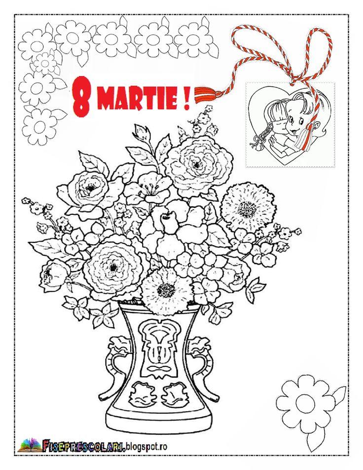 PLANSE de colorat pentru Mamici - Planse de colorat pentru 8 Martie | Fise de lucru - gradinita