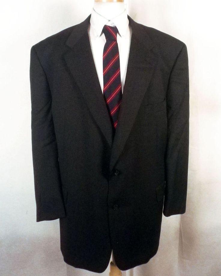 euc Burberry men's gray/navy 100% Wool Blazer Sportcoat Big Man 54 R #Burberry #TwoButton