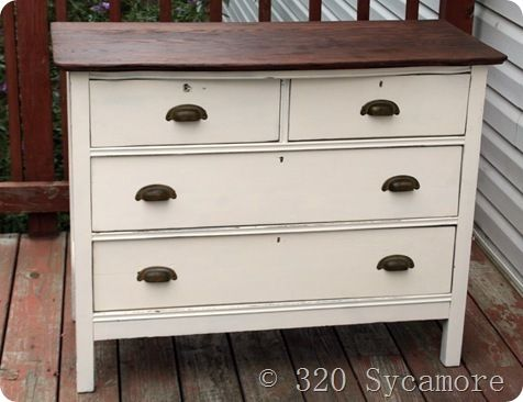Paint An Old Dresser Antique White And Stain The Top A Dark Rich Wood My Diy Pinterest Woods