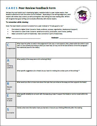 sample peer evaluation form