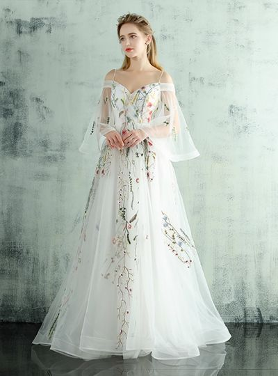 White Embroidery Straps Wedding Dress,828 from Happybridal